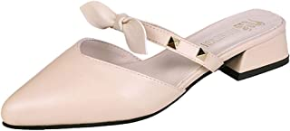 PAQOZ Women's Sandals, Summer Square High Heels Pointed Bow Sandals Fashion Casual Ladies Shoe