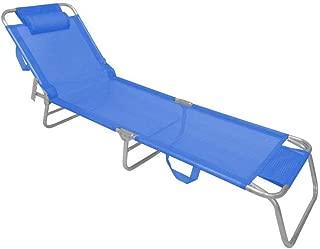 Espreguiçadeira Cadeira Praia Slim Alumínio Com Encosto Travesseiro Zaka