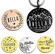 Stainless Steel Pet ID Tag Dog Tags Personalized Front and Back Engraving, Many Patterns and Colors to Select