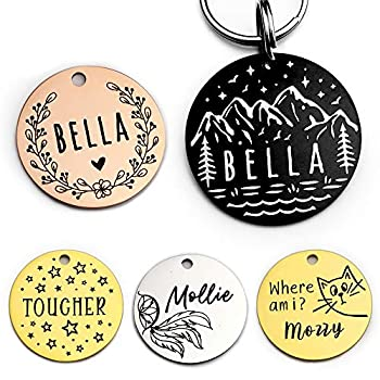Stainless Steel Pet ID Tag Dog Tags Personalized Front and Back Engraving Many Patterns and Colors to Select