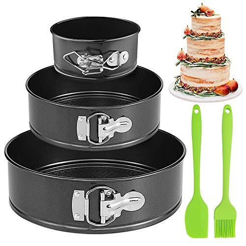 Gvoo Kuchenform, Rund Inspiration Springform Cake Pans Runde Backform mit Flachboden Kuchenformen auslaufsicher,antihaftbeschichtet 3 Größen Enthält 4''/7''/9''Runde (Spatel,Ölpinsel inbegriffen)