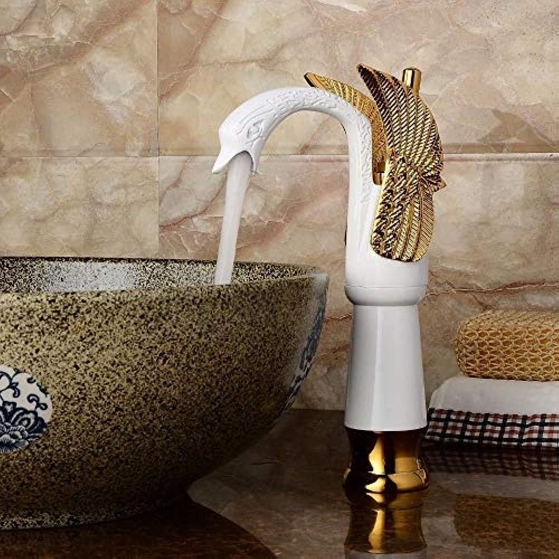 Waschbecken Mischbatterie Bad Küche Waschtischarmatur Auslaufsicher Wasser sparen Gold Blau Led Und Kaltwasser Keramikventil Einlochmontage 2 Griff Badezimmer