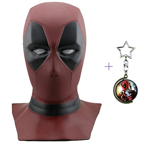 Máscara de máscara Deadpool de Yacn Marvel y traje de Deadpool, máscara de Cosplay de Deadpool Movie Style para disfraces - (máscara de cabeza completa, rojo, látex) (DP-mask)
