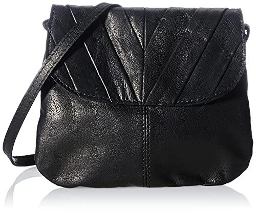 PIECES Damen PCLISSI Leather Cross Body Umhängetasche, Black, ONE Size