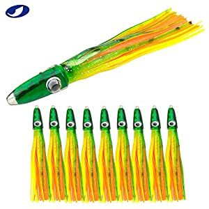 OCEAN CAT 10 Pcs 5.5 Inches Hoochie Octopus Skirts Trolling Lures Fishing Tackle Soft Plastic Lures Squid Skirts Saltwater Bait Pink and Purple (Green&Yellow-10 pcs)