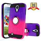 Galaxy S4 Case, Galaxy S4 Phone Case with HD Screen Protector,Atump 360 Degree Rotating Ring Holder Kickstand Bracket Cover Phone Case for Samsung Galaxy S4 Purple/Red