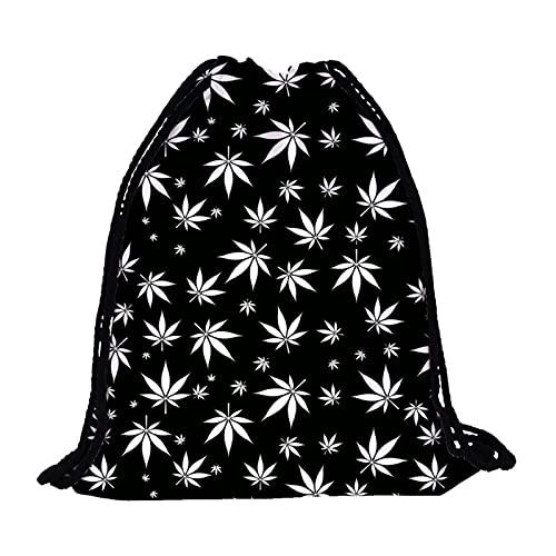 GO-AHEAD Bolsas con cordón para mujer, mochila con cordón, impresión de hojas de árbol, viajes, espalda suave, con cordón, color Skd29075