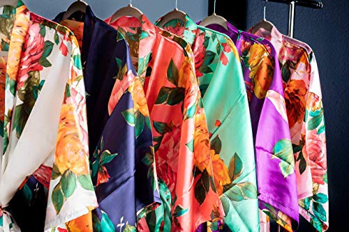Satin Floral Robes Watercolor Bridal Robes Bridesmaid Robes Available in Six Colors Getting Ready Robes