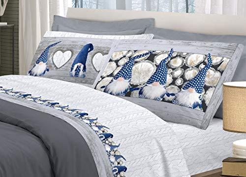 BIANCHERIAWEB Completo Lenzuola in Morbida Flanella Disegno Gnomi Colore Blu Matrimoniale Blu