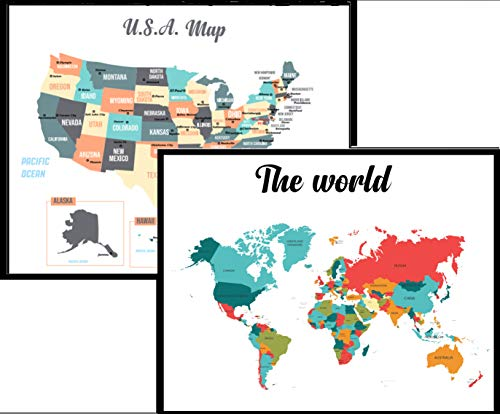 World and U.S map Two Poster Set! - Learn Geography- Great for Kids- Wall Art Hanging of The World and USA maps for Offices, Home, School- Matte Laminated