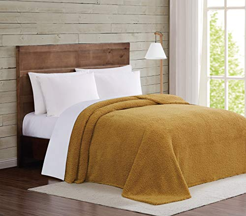 Brooklyn Loom Marshmallow Sherpa Bed Blanket, Twin XL, Mustard
