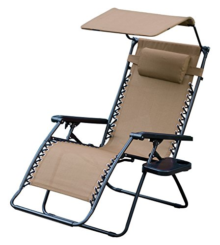 Jeco Oversized Zero Gravity Chair with Sunshade and Drink Tray, Tan