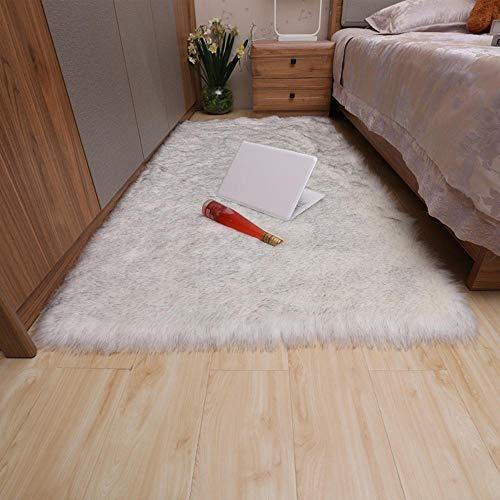 RUGMYW Preisgünstige Teppich Flur Grau und Weiß Plus Plüsch wohnzimmerteppich lammfell Teppich 100X180cm