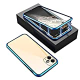 Custodia per cellulare con telaio in metallo trasparente a 360° su entrambi i lati, antiurto e antiurto, per iPhone 12/iPhone 12 Pro/iPhone 12 Pro/iPhone 12 Promax, custodia ultrasottile (blu, 12)