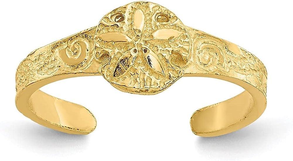 14k Yellow Gold Diamond-Cut Sand Dollar Toe Ring for Women