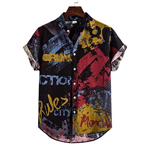 Camisas de Manga Corta para Hombre, Estilo Hawaiano, Estampado de Plantas Tropicales, Camisas Sueltas y Ligeras con Tendencia de Personalidad, Camisas Casuales 3X-Large