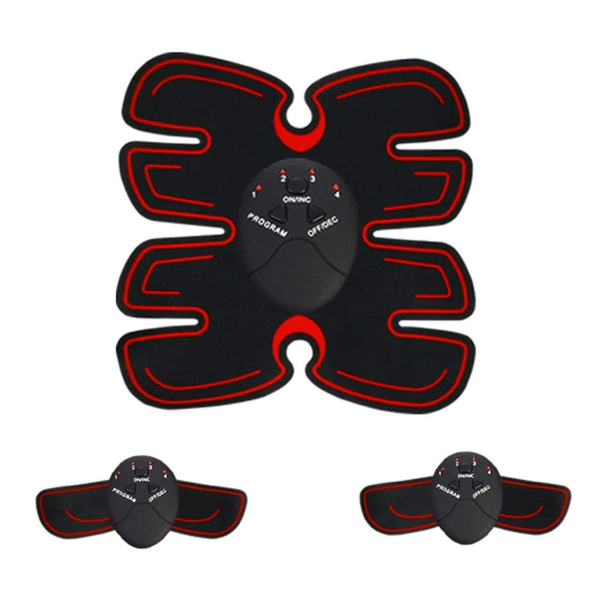 しわワゴン終わった腹部筋肉トレーナー筋肉トナーems absトレーナーabベルトホームオフィストレーニング機器用男性&女性フィットネス薄いベルトボディービル腹部ベルト (Color : RED, Size : 23.2*21CM)