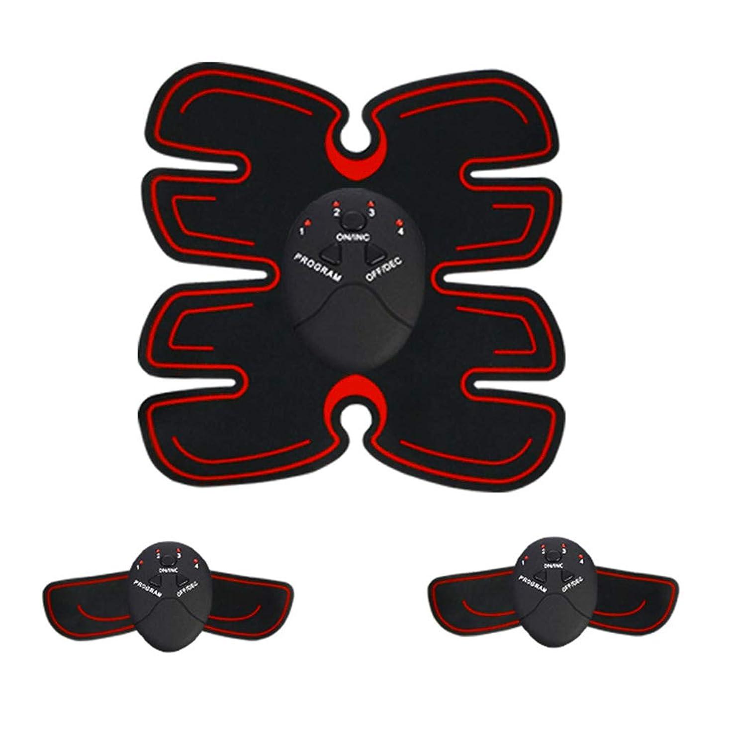 流行している繁栄する信頼性のある腹部筋肉トレーナー筋肉トナーems absトレーナーabベルトホームオフィストレーニング機器用男性&女性フィットネス薄いベルトボディービル腹部ベルト (Color : RED, Size : 23.2*21CM)