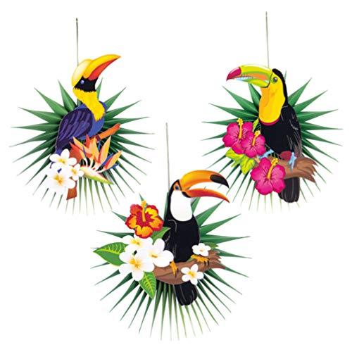 PRETYZOOM 3 Piezas Pancartas de Panal de Fiesta de Verano Hojas de Tucán de Pájaro Guirnaldas Colgantes Adornos de Pájaros Papel Pom Pom Ventiladores para Fiesta Tropical Hawaiana
