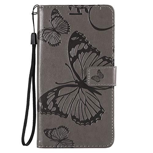 NEXCURIO [LG X Power 2] Hülle Leder, Handyhülle Tasche Leder Flip Hülle Brieftasche Etui mit Kartenfach Stoßfest Kratzfest Schutzhülle für LG X Power2 (LGM320N) - NEKTU13979 Grau