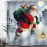 ALFALFA Weihnachts-Duschvorhang Weihnachtsmann & Schneemann Badezimmer Duschvorhang Deko, wasserfester Stoff Badevorhang 60