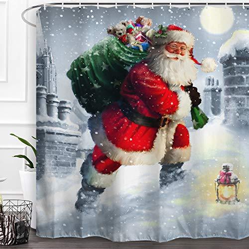 "Baccessor Santa Claus Shower Curtain Merry Christmas Winter Holiday New Year Xmas Bathroom Decor Shower Curtain Fabric Bath Curtain 60"" W x 72"" H (150CM x 180CM) - Santa Claus Send Gifts"