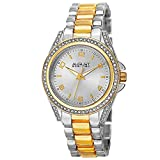 August Steiner Women's Crystal Accented Watch - Genuine Crystals On Bezel and Lugs, Japanese Quartz Movement On Stainless Steel Bracelet - AS8149