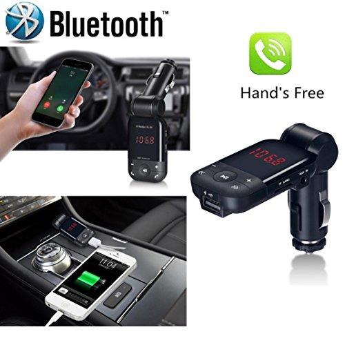 Transmetteur FM/lecteur MP3/chargeur USB/kit mains libres Bluetooth avec écran et branchement allume-cigare, Noir