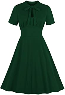 Wellwits Women's Keyhole Bow Tie Front 1940s Vintage Collared Cocktail Dress