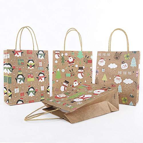 Detrade 4Pcs Beutel Papiertüte Verpackenkraftpapier Unterseiten Einkaufstasche Kann Eine Weihnachtsfriedensfrucht, Süßigkeit Setzen (M)