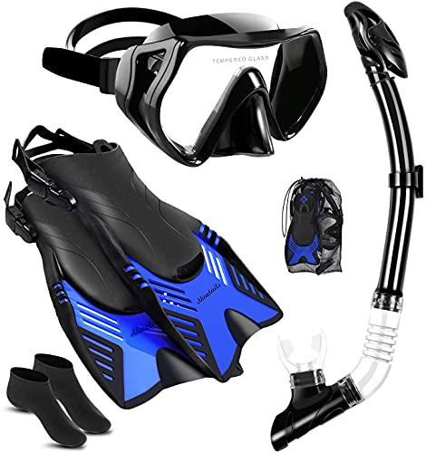 4 IN 1 Snorkel Set for Adults with Adjustable Dive Flippers, Panoramic View Anti-Fog Mask, Dry Top Snorkel and Dive Socks, Snorkeling Gear Mask Fin for Snorkeling Swimming Scuba Diving(L-XL)