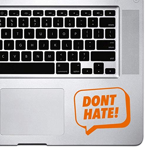 DKISEE Decal Sticker Laptop Vinyl Decal Don't Hate Speech Bubble Sticker voor MacBook Pro, Chromebook en laptops 5 inch Oranje
