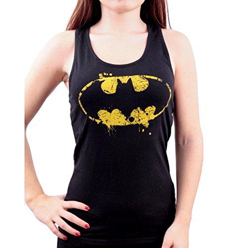 Batman Débardeur Femme Noir Logo Grunge
