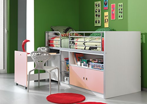 Vipack bohs9115hochbett Bonny, Circa 207x 116x 98cm, Superficie 90x 200cm, 15, Bianco/Rosa