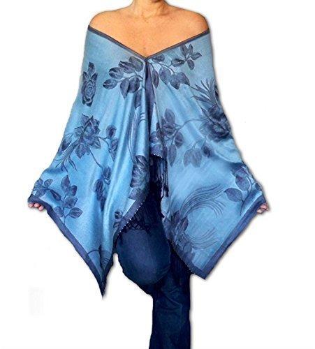 Plus Size Light Blue Poncho Flower Print Shawl Wrap By ZiiCi