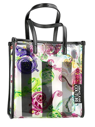 Versace Jeans Couture Multicolor Medium Clear Vinyl Shopper Tote Bag with Beauty Case for womens