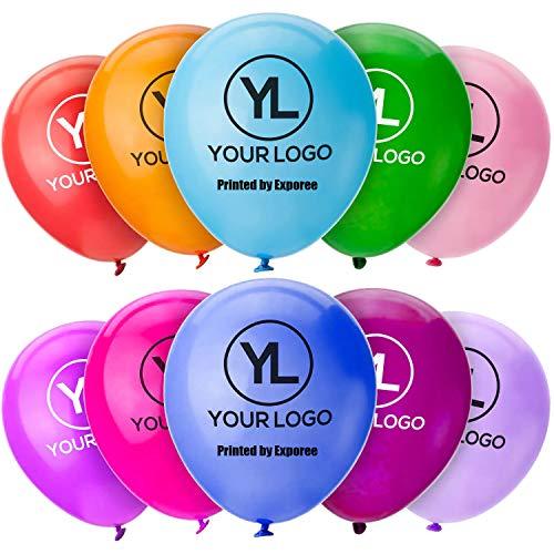 Exporee 1000pcs Globos Personalizados, Globos Publicitarios con Logotipo Personalizado, Globos de Látex Impresos Redondos y en Forma de Corazón Personalizados (12