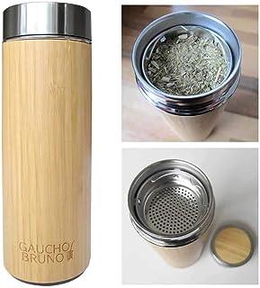 Yerba Mate Termo de Bambu con filtro de Te