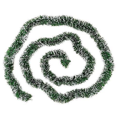 Ideen mit Herz Lametta-Girlande Deluxe | Duo Color | Ø4cm | 2m lang | Tannengirlande | Dekogirlande | Weihnachtsgirlande | Party Deko (grün & weiß)