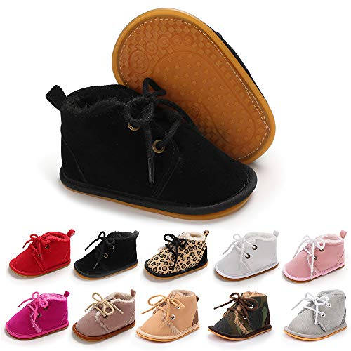 Meckior Baby Booties Newborn Infant Unisex Baby Girls Boys Velvet Rubber Anit-Slip Sole Shoes Toddler Fleece Cozy Winter Warm Prewalker Boots
