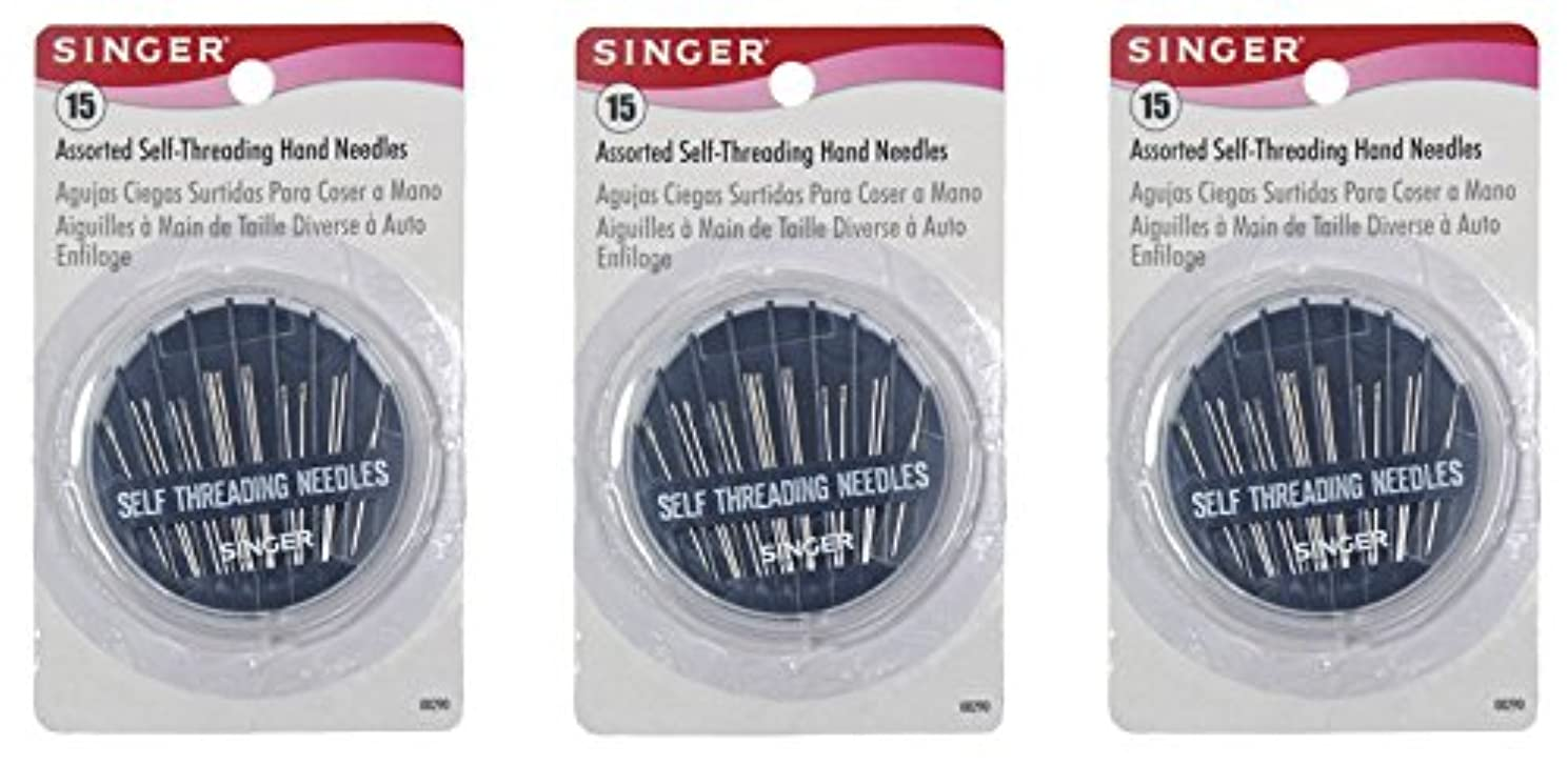 Singer Assorted Self Threading Hand Needles, 15-Count (3 Pack)