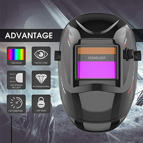 YESWELDER True Color Solar Powered Auto Darkening Welding Helmet