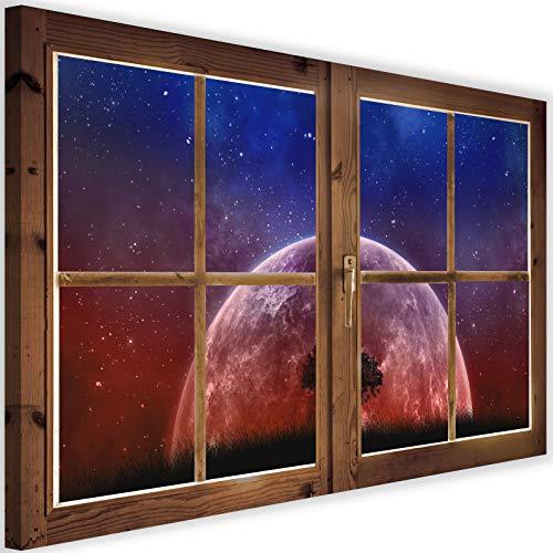Feeby Impresión en Material Tejido no Tejido Árbol Frente A La Luna 90x60 cm Arte Moderno Decoración De Pared Sala De Estar Vista De Ventana Efecto 3D Morado
