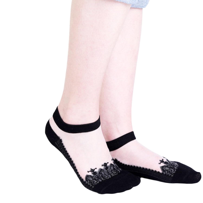 Seliyi 靴下 レディース おしゃれ シースルー ソックス くつした 22~24cm アンクレット(4足組)
