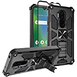 Nuomaofly Case for Cricket Influence/AT&T Maestro Plus with Screen Protector, [Military-Grade Protective] Defender Phone Case Heavy Duty with Finger Ring Holder Kickstand - Black