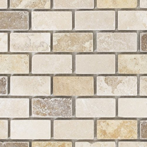 Mosaik Fliese Travertin Naturstein beige braun Brick Travertin tumbled für BODEN WAND BAD WC DUSCHE KÜCHE FLIESENSPIEGEL THEKENVERKLEIDUNG BADEWANNENVERKLEIDUNG Mosaikmatte Mosaikplatte