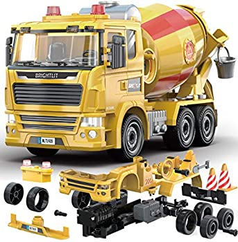 Cement Truck - 99 Pcs Take Apart STEM Toys Build Your Own Construction Truck DIY Building Assembly Kit w/ Lights and Sounds Educational Gift Idea for Kids Ages 5 6 7 8 9 Years Old