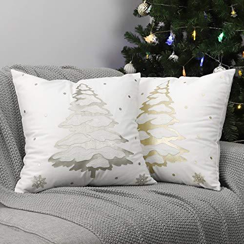 Lewondr Funda de Almohada de Navidad de Cojín Suave, [2 Piezas] 45CM * 45CM Funda de Almohada con Árbol de...