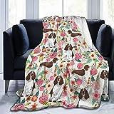 English Springer Spaniel Fleece Throw Blanket, Fuzzy Warm Throws for Winter Bedding, Couch and Plush House Warming Decor Gift Idea (60'x50')