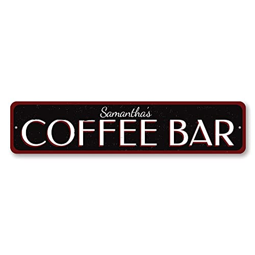 Coffee Lover Sign ENSA1001440 Coffee Bar Sign Personalized Name Kitchen Sign